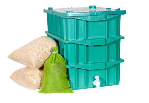 Composteira Minhocário P 15lts Promoção C/100 Minhocas