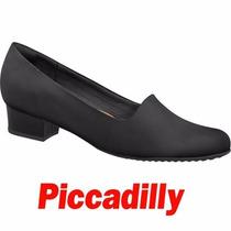 Sapato Piccadilly Preto Trabalho Conforto Salto 3,5cm 140096