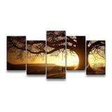 Quadro Decorativo 129x63 Sala Quarto Árvore Sol Paisagem
