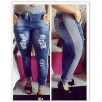 Calça Jeans Feminina C/ Moletom Moda Inverno - F36