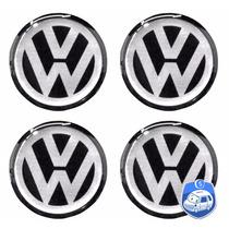 Jogo Emblemas Volkswagen P/ Calota Ou Roda C/4 Peças 58mm