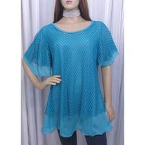 Blusa Bata Em Musseline Azul Com Sobreposição Em Telinha