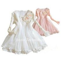 Vestido Festa Rosa Princesa Menina Infantil