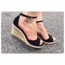Sandália Salto Baixo Anabela Nude C/ Preto Marc Leluel Shoes