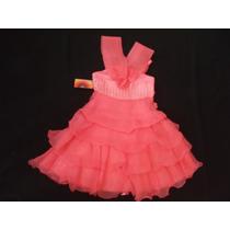 Vestido Infantil Festa/princesa/florista Melancia / Coral