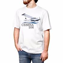 Camiseta Aeromodelismo Cessna 206 Branca