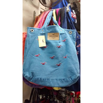 Bolsa Hollister Estilo Sacola Feminin Azul Clara Original