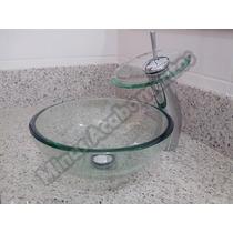 Kit Banheiro 4 Peças: Cuba Vidro, Torneira, Valvula, Sifão