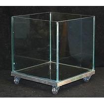 Cachepot De Vidro 30x30x30 Base Em Alumínio E Rodinhas