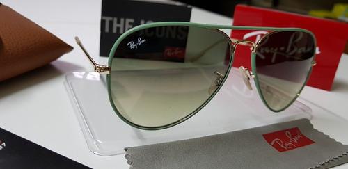 aebb791b0c041 Óculos Sol Ray-ban Aviator Full Color Rb3026 Verde Degradê