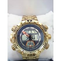 Relógio Masculino Original Atlantis Dourado (pronta Entrega)
