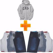 Kit Bermuda Jeans Masculino Lote 6 Unid E Blusa Gap F Grátis