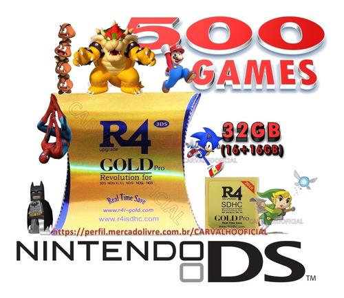 Card R4 C/ 500 Jogos Gold Nintendo Ndsi/ndsl/ndsxl/3ds/2ds à