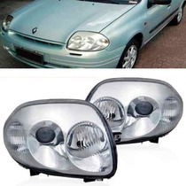 Farol Clio 2000 2001 2002 00 01 02 Foco Duplo - Cromado