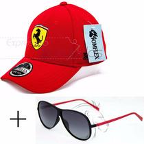 Boné Bordado Ferrari + Óculos De Sol Uv400