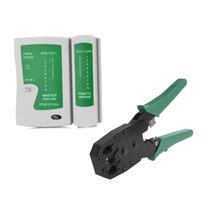 Kit Testador De Cabos Rede + Alicate De Crimpar Rj45