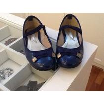 Sapato Infantil Tatiana Loureiro N. 28 Azul De Verniz Lindo