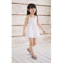 Vestido Infantil Branco Com Gola Bege De Renda Frete Grátis