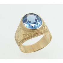 Feliz Jóias - Anel Masculino Com Topázio Azul Em Ouro