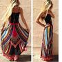 Vestido Longo Em Algodão + Viscose Étnico Multicolorido