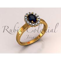 Anel De Formatura Com Pedra Natural E Diamantes!! Luxo!
