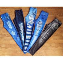 Legging Jeans Imitação Rasgado Feminina Fake Atacado Calça