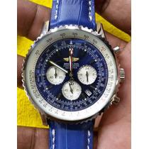 Relogio Aviador Classico Couro Azul Luxo(sedex Gratis)