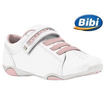 20% Off Tênis Bibi Sugar Branco Rosa Couro 890022