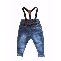Calça Jeans Infantil Com Suspensório Mashed