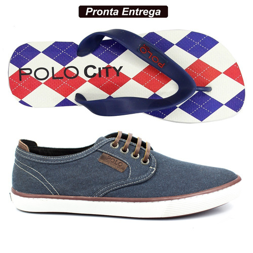 00d90f4b14 Kit Sapatenis Tênis Casual Polo Masculino + Chinelo Polo