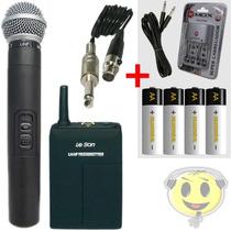Microfone Sem Fio Duplo Leson Transmissor Inst. Recarregavel
