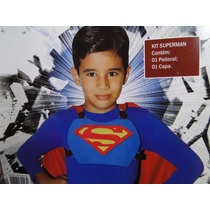Nova Fantasia Infantil Super Homem Peitoral E Capa Vermelha