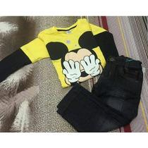 Conjunto Infantil Fantasia Mickey Mouse Manga Longa Inverno