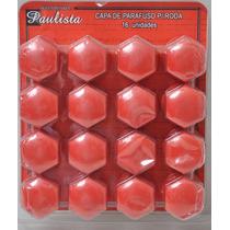 Kit Com 16 Capas Vermelhas Para Parafusos De Roda De Carro