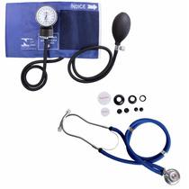 Kit Esfigmomanômetro + Estetoscopio Rappaport Azul Premium
