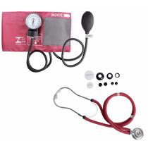 Kit Esfigmomanômetro + Estetoscopio Rappaport Vinho Premium