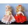 Lote Chaveiros 2 Mini Bonecas De Porcelana Articuladas