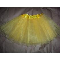 Saia De Tule Tutu Amarelo 3 Camadas Bailarina