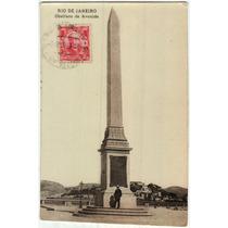 Cartão Postal Antigo Obelisco Da Avenida Rio Branco Rj 1909