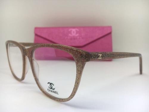 Armação Oculos Grau Feminino Chanel Acetato Frete Gratis 4b9f12a7b3