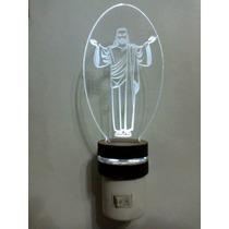 Luminária Mini Abajur De Tomada , Jesus Em Acrilico