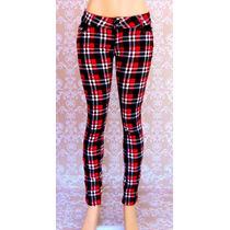 Calça Jeans Xadrez Feminina Rock Promoção Legging Skynning