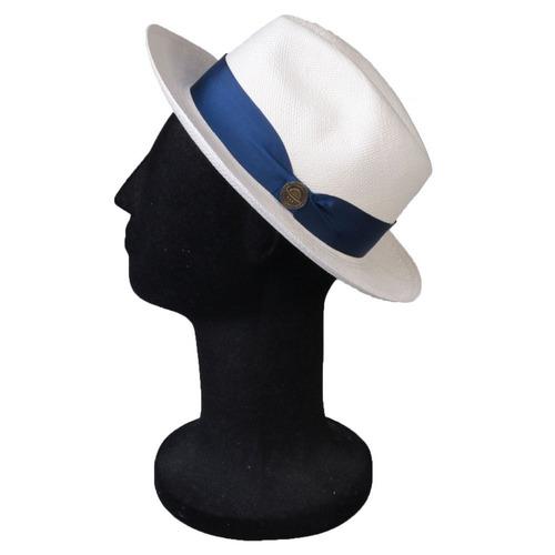 285371caf2241 Chapéu Panamá Palha Classico Original Aba Média Faixa Azul  . R  279.9