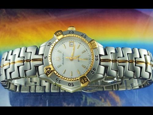 f336cb746cd Relógio Bulova Accutron 28m01 Detalhes Banho Ouro