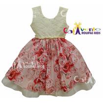 Vestido De Festa Infantil Floral Luxo Com Tiara