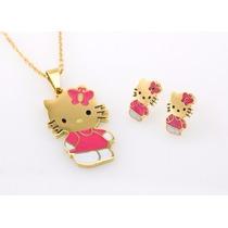 Conjunto Hello Kitty Brincos Colar Pingente Ouro 18k