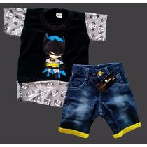 Conjunto Infantil Herois Menino Bermuda Jeans Camiseta Color