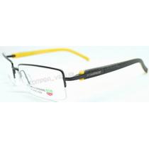 Armação Óculos Grau Tag Heuer Th1213 Preto Amarelo Fio Nylon