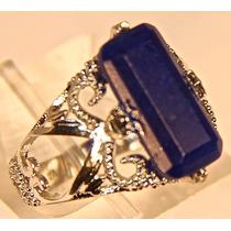 Rsp J3579 Anel Prata 925 Safira Azul Trabalhado Frete Grátis