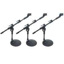 Kit 3 Pedestal Suporte De Mesa Para Microfone Mini Girafa